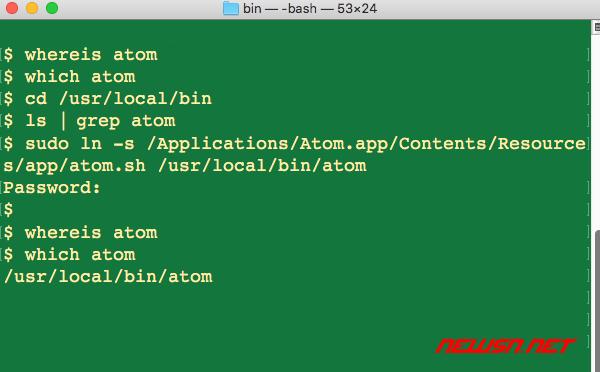 mac系统,如何解决atom command not found的问题? - atom-command
