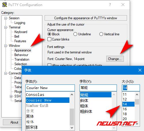 putty如何修改界面字体颜色及大小 - 007
