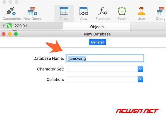 cmswing安装部署教程 - 05_db_new_database