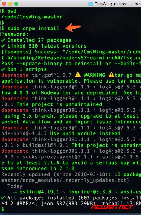 cmswing安装部署教程 - 11_npm_install