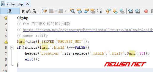 苏南大叔:typecho 不能正常接收百度引流的解决方案 - code