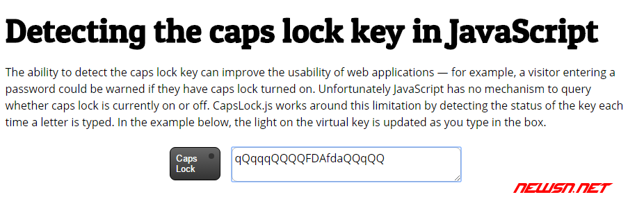 js检测capslock - capslock