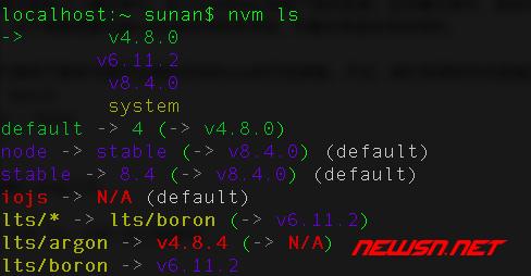 切换node版本的nvm工具的基本使用 - ls