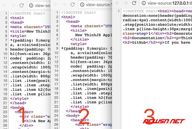 利用htmltidy编写thinkjs中间件,格式化html代码输出 - 对比图