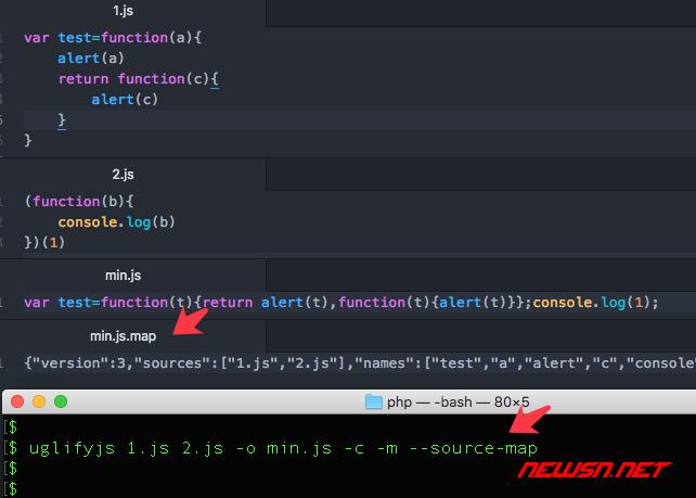 如何使用uglifyjs合并精简混淆js文件,uglifyjs范例小结 - 005-map
