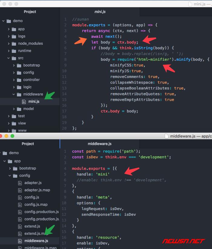 苏南大叔:利用html-minifier制作thinkjs中间件,压缩html文本输出 - 002